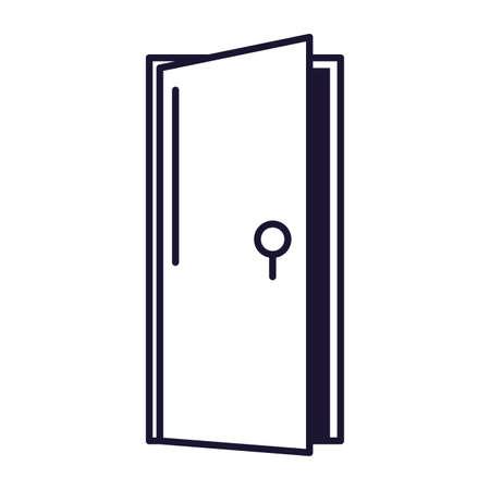 open door , line style icon vector illustration design