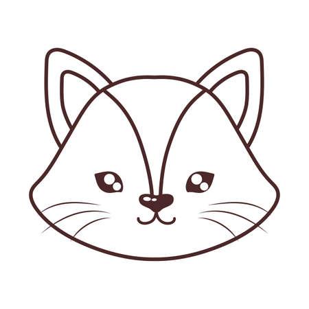 head of cute cat , line style icon, feline domestic vector illustration design