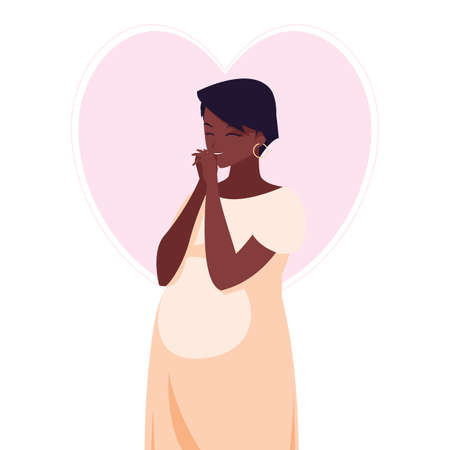 beautiful afro pregnancy woman in heart character vector illustration design Vectores