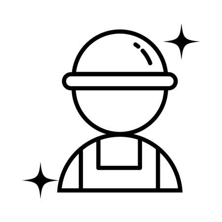 technician man with helmet , line style icon vector illustration design