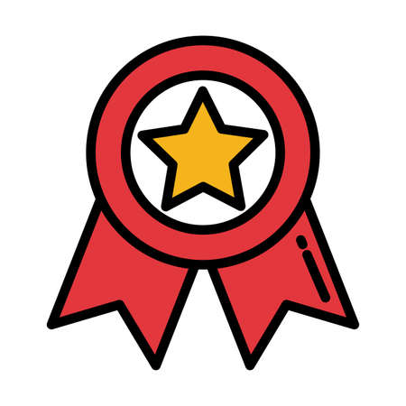 badge with red ribbon on white background vector illustration design