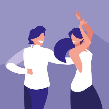 couple dancing avatar character vector illustration design 向量圖像