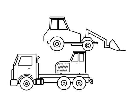 under construction crane truck with excavator vector illustration design