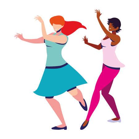 women in pose of dancing on white background vector illustration design 向量圖像