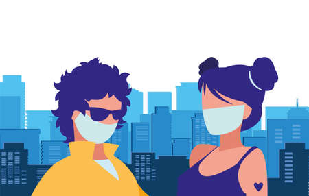 couple in the city wearing face mask vector illustration design