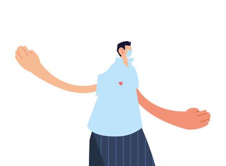 man standing with medical mask on white background vector illustration design