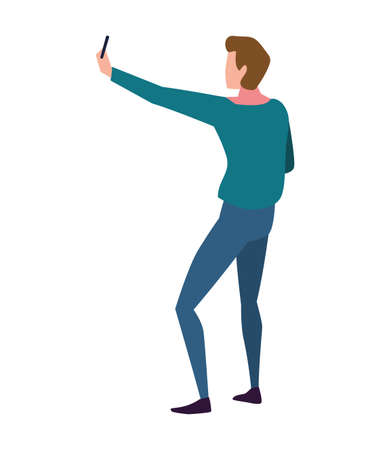 young man of back position on white background vector illustration design