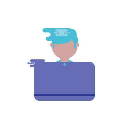 Avatar boy with laptop design, Digital technology communication social media internet web and screen theme Vector illustration