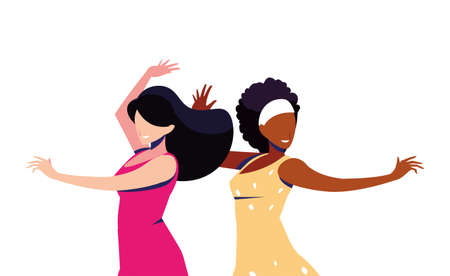 scene of women in dance pose, party, dance club vector illustration design 向量圖像