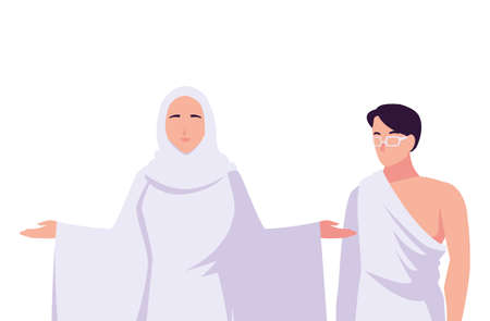 couple of people pilgrims hajj on white background vector illustration design 版權商用圖片 - 148092576