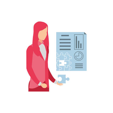 businesswoman with puzzle pieces in shape document statistic vector illustration design 向量圖像