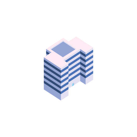 Isometric white building design, City architecture urban modern downtown contemporary metropolis exterior and construction theme Vector illustration Stock fotó - 148092583