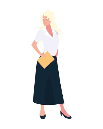 businesswoman standing on white background vector illustration design