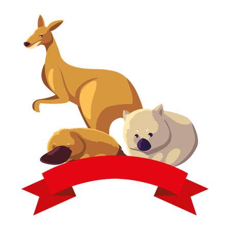 animals of australia on white background vector illustration design