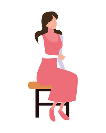 young woman sitting in chair on white background vector illustration design