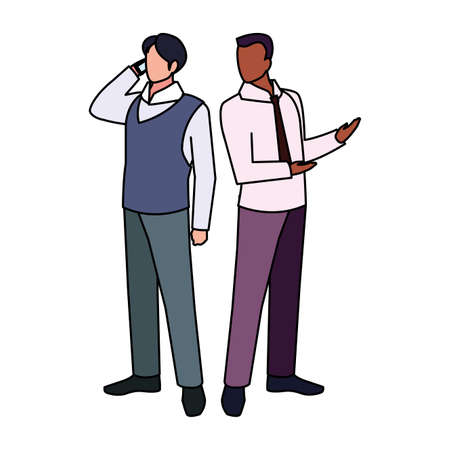businessmen standing with various views and pose vector illustration design 版權商用圖片 - 148092648