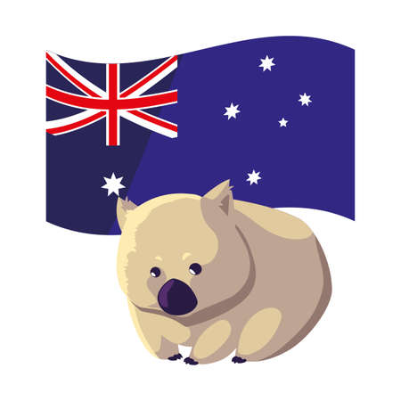 wombat with australian flag in the background vector illustration design