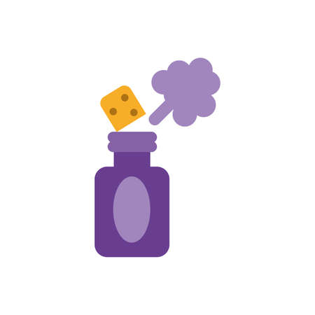 spray prank bottle over white background, flat style icon, vector illustration