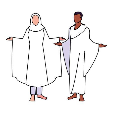 couple of people pilgrims hajj on white background vector illustration design 版權商用圖片 - 148092493