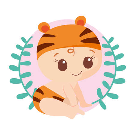 Cute baby boy with tiger costume design, Child newborn childhood kid innocence and little theme Vector illustration Фото со стока - 148092539