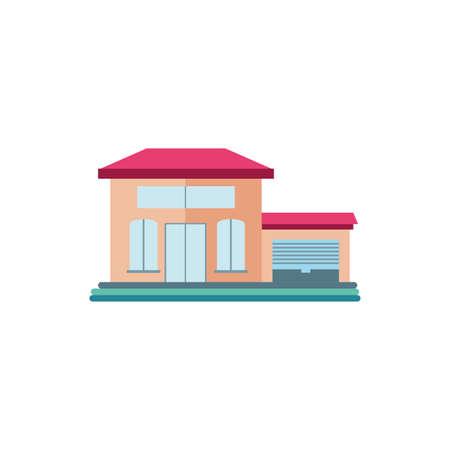 cute building of house on white background vector illustration design Illusztráció