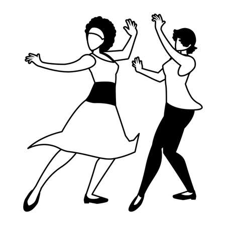 silhouette of women in pose of dancing on white background vector illustration design 向量圖像