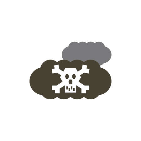 Skull inside cloud design, Pollution factory environment dirty danger industry plant chemical and toxic theme Vector illustration