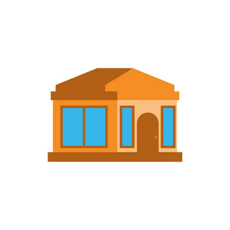 House with window and door design, Home real estate building residential architecture property and city theme Vector illustration