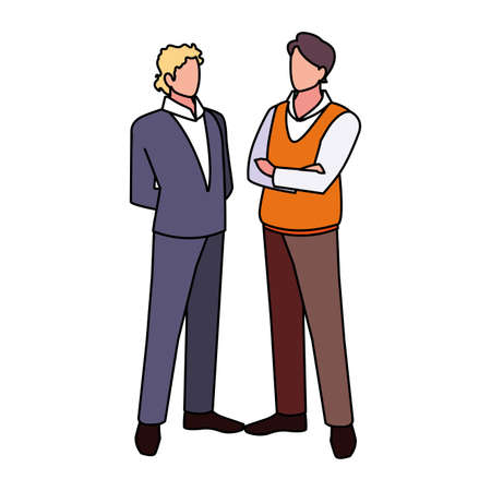 businessmen standing with various views and pose vector illustration design 向量圖像