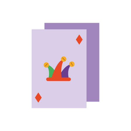 jester poker card over white background, flat style icon, vector illustration  イラスト・ベクター素材