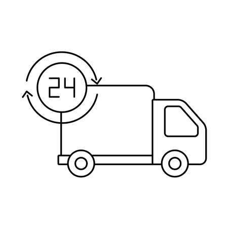 cargo transport truck with symbol of service 24 hours , line style iconvector illustration design