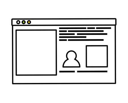 social network profile on white background vector illustration design vector illustration design Vetores