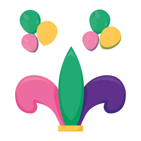 Mardi gras fleur de lis and balloons design, Party carnival decoration celebration festival holiday fun new orleans and traditional theme Vector illustration