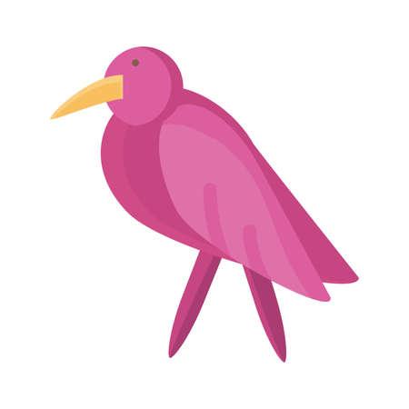 cartoon bird icon, flat detail style vector illustration