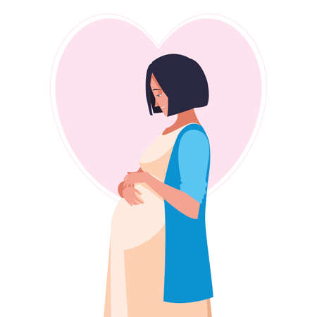 beautiful pregnancy woman in heart character vector illustration design