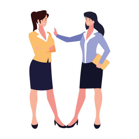 cute businesswomen with various views, poses and gestures vector illustration design