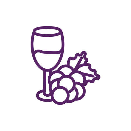 Wine cup with grapes design of Winery alcohol drink beverage restaurant celebration and party theme Vector illustration