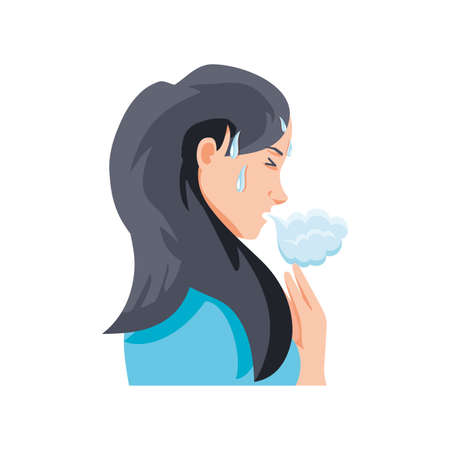woman with cough on white background vector illustration design