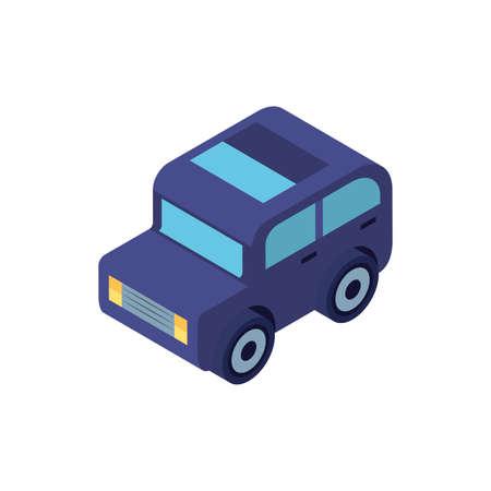 Isometric blue car design, Transportation vehicle transport wheel speed traffic road and travel theme Vector illustration Ilustrace