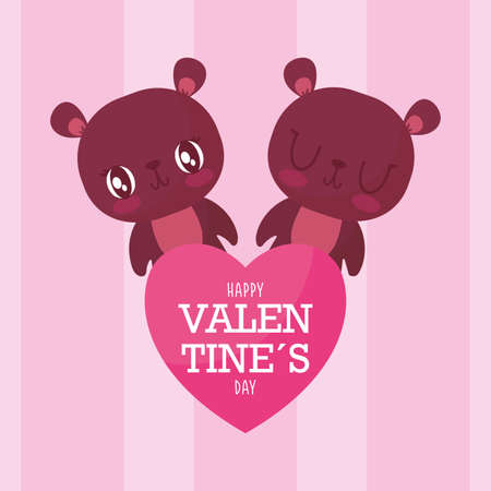 Bears cartoons with heart design of Happy valentines day love passion romantic wedding decoration and marriage theme Vector illustration