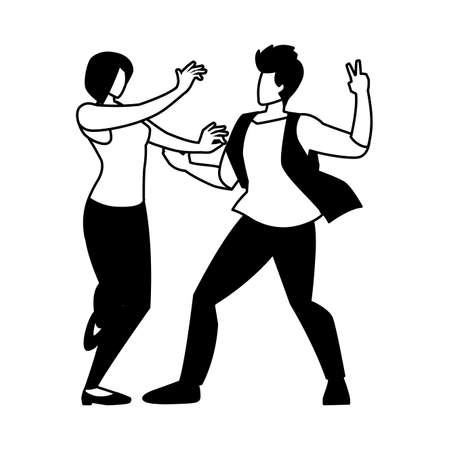 silhouette of couple in pose of dancing on white background vector illustration design 向量圖像