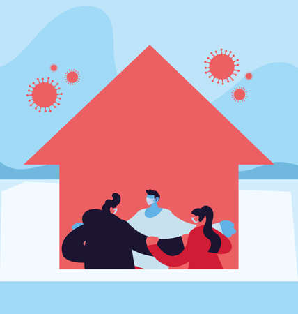 people at home against increased coronavirus vector illustration design