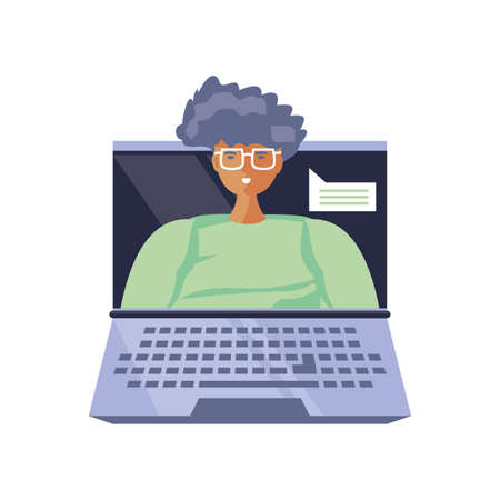 man on laptop screen, online learning, conference and consultation vector illustration design Illustration