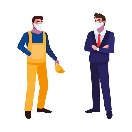 male operator and executive with mask vector illustration design