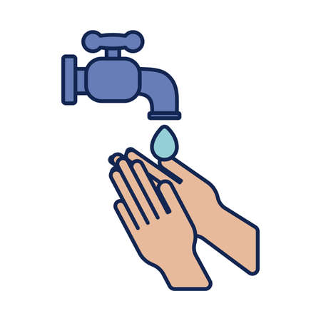 washing hands with water and soap, line and fill style icon vector illustration design