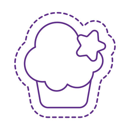 muffin with star line style icon design, Cute patch expression emoticon and childhood theme Vector illustration