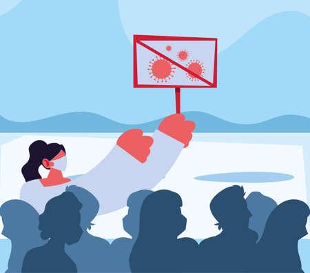 woman warns of new coronavirus vector illustration design Illusztráció