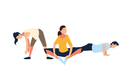people doing stretching and strength exercise vector illustration design Illustration