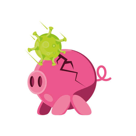 broken savings pig by virus on white background vector illustration design