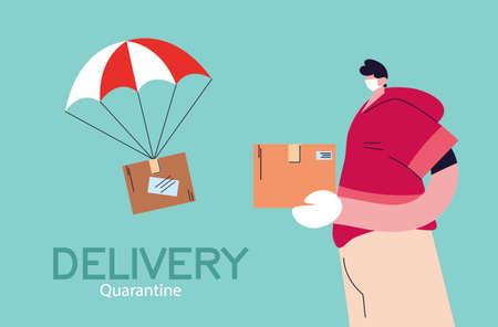 men with mask safe delivery courier vector illustration desing